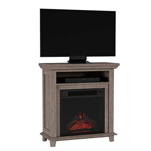 Northwest 80 FPWF 4 Electric Fireplace TV Stand 29 Freestanding Console with Shelf Faux Logs and LED Flames Space Heater Entertainment Center Gray 0 4