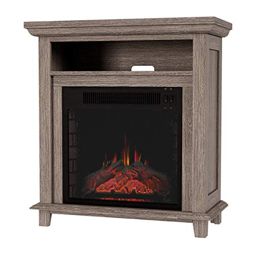 Northwest 80 FPWF 4 Electric Fireplace TV Stand 29 Freestanding Console with Shelf Faux Logs and LED Flames Space Heater Entertainment Center Gray 0 5