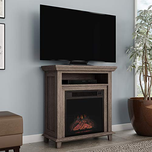 Northwest 80 FPWF 4 Electric Fireplace TV Stand 29 Freestanding Console with Shelf Faux Logs and LED Flames Space Heater Entertainment Center Gray 0