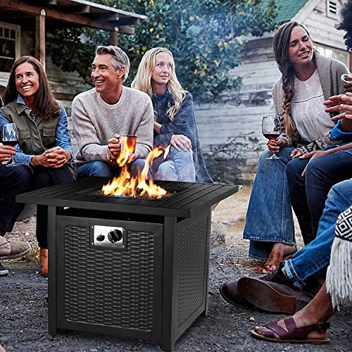 OKVAC 28 Propane Gas Fire Pit Table 50000 BTU Square Fire Bowl Outdoor Auto Ignition Fireplace with CSA Certification Waterproof Cover Lava Rock for BalconyGardenPatioCourtyard 0 3