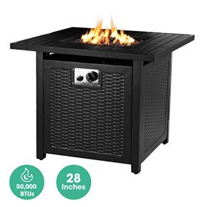 OKVAC 28 Propane Gas Fire Pit Table 50000 BTU Square Fire Bowl Outdoor Auto Ignition Fireplace with CSA Certification Waterproof Cover Lava Rock for BalconyGardenPatioCourtyard 0
