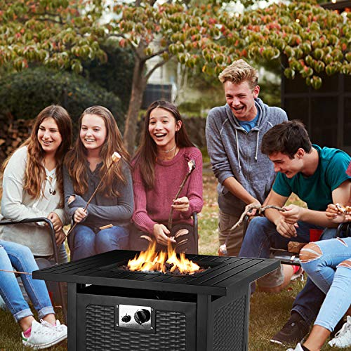 OKVAC 28 Propane Gas Fire Pit Table 50000 BTU Square Fire Bowl Outdoor Auto Ignition Fireplace with CSA Certification Waterproof Cover Lava Rock for BalconyGardenPatioCourtyard 0 4