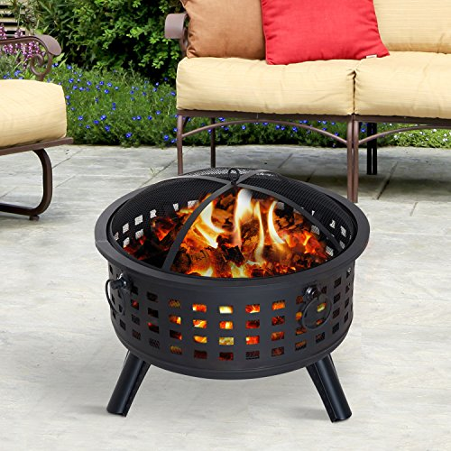 Outsunny 26 Steel Round Firepit Patio Heater Patio Outdoor with Cover 0 0