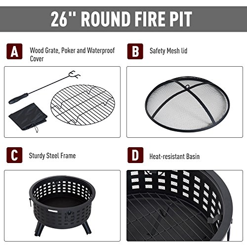 Outsunny 26 Steel Round Firepit Patio Heater Patio Outdoor with Cover 0 1