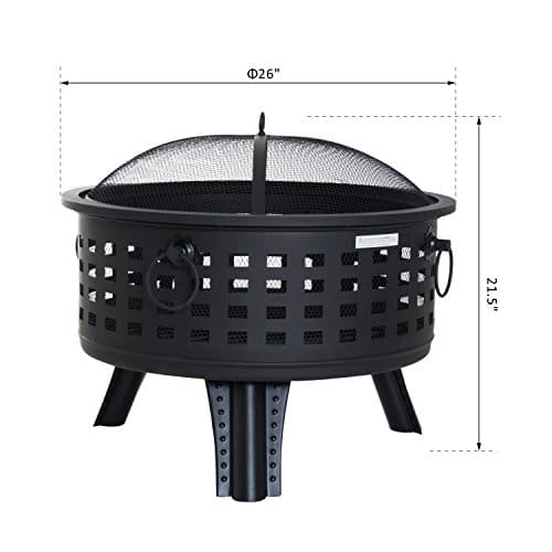 Outsunny 26 Steel Round Firepit Patio Heater Patio Outdoor with Cover 0 5
