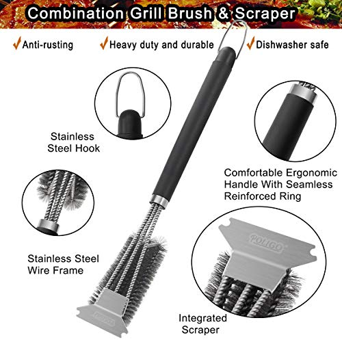 POLIGO Grill Brush and Scraper with Deluxe Handle Safe Wire Stainless Steel BBQ Brush for Gas Infrared Charcoal Porcelain Grills Ideal Gift BBQ Grill Cleaning Brush for Grill Wizard Grate Cleaner 0 0
