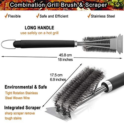 POLIGO Grill Brush and Scraper with Deluxe Handle Safe Wire Stainless Steel BBQ Brush for Gas Infrared Charcoal Porcelain Grills Ideal Gift BBQ Grill Cleaning Brush for Grill Wizard Grate Cleaner 0 1