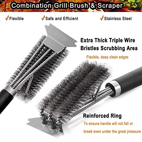 POLIGO Grill Brush and Scraper with Deluxe Handle Safe Wire Stainless Steel BBQ Brush for Gas Infrared Charcoal Porcelain Grills Ideal Gift BBQ Grill Cleaning Brush for Grill Wizard Grate Cleaner 0 2