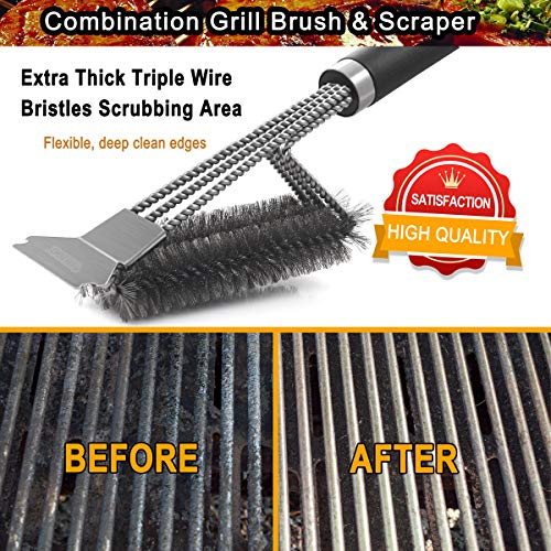 POLIGO Grill Brush and Scraper with Deluxe Handle Safe Wire Stainless Steel BBQ Brush for Gas Infrared Charcoal Porcelain Grills Ideal Gift BBQ Grill Cleaning Brush for Grill Wizard Grate Cleaner 0 4