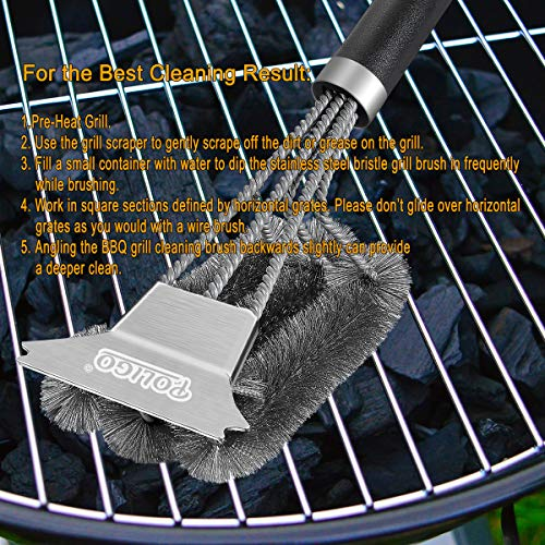 POLIGO Grill Brush and Scraper with Deluxe Handle Safe Wire Stainless Steel BBQ Brush for Gas Infrared Charcoal Porcelain Grills Ideal Gift BBQ Grill Cleaning Brush for Grill Wizard Grate Cleaner 0 5