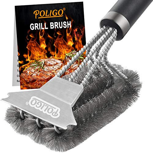 POLIGO Grill Brush and Scraper with Deluxe Handle Safe Wire Stainless Steel BBQ Brush for Gas Infrared Charcoal Porcelain Grills Ideal Gift BBQ Grill Cleaning Brush for Grill Wizard Grate Cleaner 0
