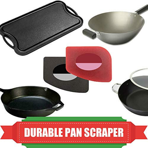 Pan Scrapers 4 Pack Durable Plastic Pan Scrapers 100 Useful Grill Pan Cleaner Scraper Tools for Cast Iron Skillets Cookware Pans Grill Pans Classical Black Kitchen Red 0 0