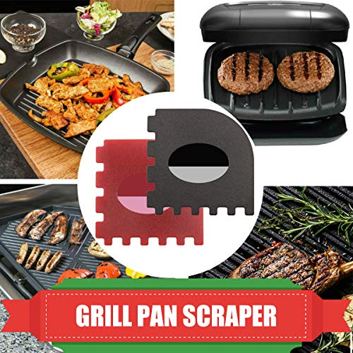 Pan Scrapers 4 Pack Durable Plastic Pan Scrapers 100 Useful Grill Pan Cleaner Scraper Tools for Cast Iron Skillets Cookware Pans Grill Pans Classical Black Kitchen Red 0 1