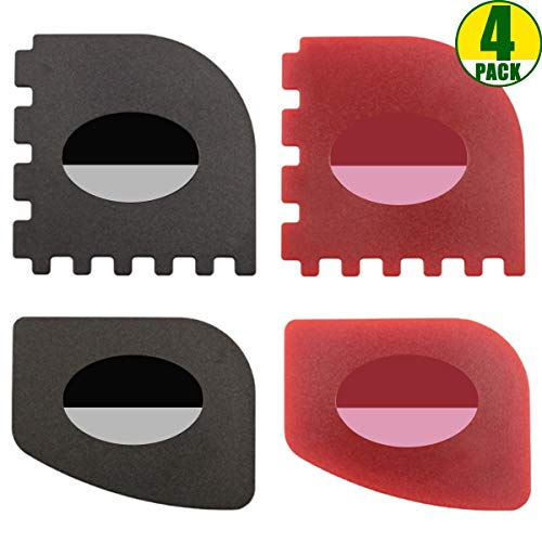 Pan Scrapers 4 Pack Durable Plastic Pan Scrapers 100 Useful Grill Pan Cleaner Scraper Tools for Cast Iron Skillets Cookware Pans Grill Pans Classical Black Kitchen Red 0