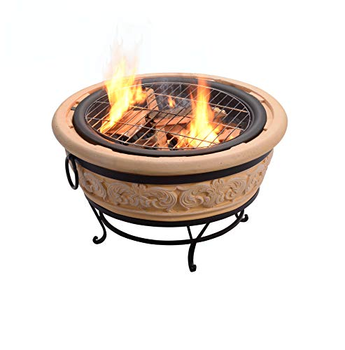 Peaktop Hr26303aa S Round Intricate Wood Burning Fire Pit 27 2 Sand Fire In Style Fireplaces Stoves Fire Pits