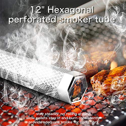Pellet Smoker Tube 12 Stainless Steel BBQ Wood Pellet Tube Smoker for ColdHot Smoking Portable Barbecue Smoke Generator Works with Electric Gas Charcoal Grill or Smokers Bonus Brush Hexagon 0 0