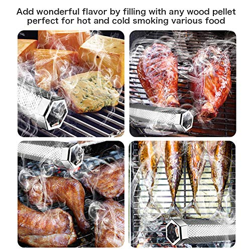 Pellet Smoker Tube 12 Stainless Steel BBQ Wood Pellet Tube Smoker for ColdHot Smoking Portable Barbecue Smoke Generator Works with Electric Gas Charcoal Grill or Smokers Bonus Brush Hexagon 0 1