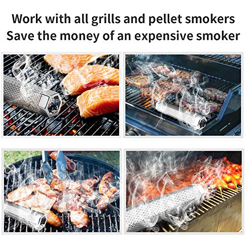 Pellet Smoker Tube 12 Stainless Steel BBQ Wood Pellet Tube Smoker for ColdHot Smoking Portable Barbecue Smoke Generator Works with Electric Gas Charcoal Grill or Smokers Bonus Brush Hexagon 0 2