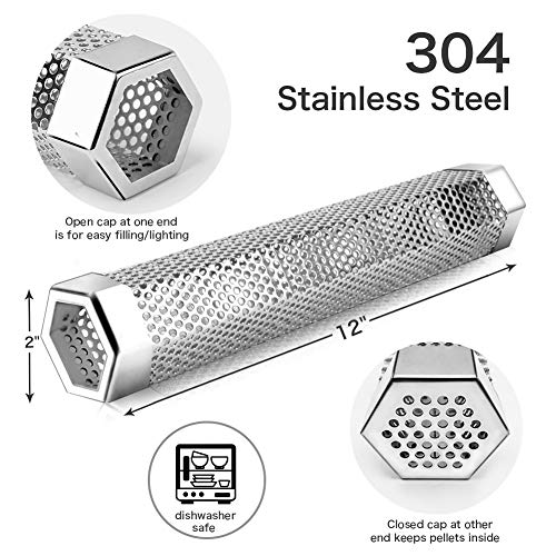 Pellet Smoker Tube 12 Stainless Steel BBQ Wood Pellet Tube Smoker for ColdHot Smoking Portable Barbecue Smoke Generator Works with Electric Gas Charcoal Grill or Smokers Bonus Brush Hexagon 0 3