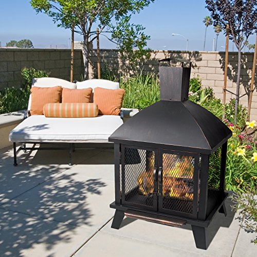 Pleasant Hearth OFW577HC Stratford House Wood Burning Fire Pit 0 0
