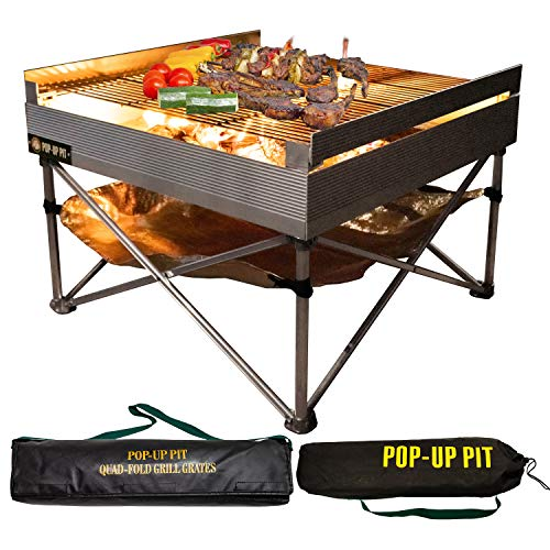 Pop Up Fire Pit Portable Outdoor Fire Pit and BBQ Grill Packs Down Smaller than a Tent Two Carrying Bags Included X Large Grilling Area Fire Pit Heat Shield and Quad Fold Grill Included 0