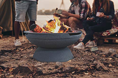 Prism Hardscapes Falo Fire Bowl 21 Inch Round Portable Wood Burning Fire Pit Beach Pebble 0 0