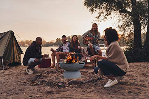 Prism Hardscapes Falo Fire Bowl 21 Inch Round Portable Wood Burning Fire Pit Beach Pebble 0 1