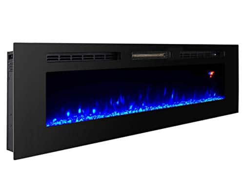 Proman Products 60 Inches Electric Fireplace Wall Recessed Heater Crystal Stone Flame Effect 3 Changeable Colors Fireplace with Remote 1500 W Black 0 0