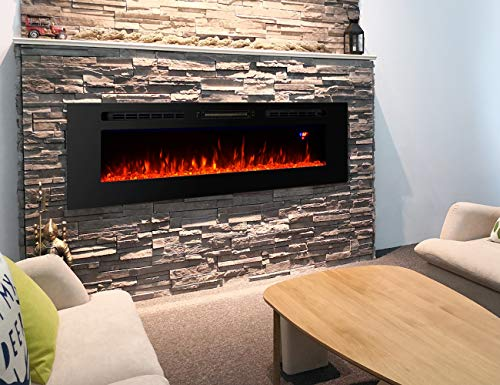 Proman Products 60 Inches Electric Fireplace Wall Recessed Heater Crystal Stone Flame Effect 3 Changeable Colors Fireplace with Remote 1500 W Black 0 1