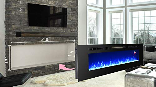Proman Products 60 Inches Electric Fireplace Wall Recessed Heater Crystal Stone Flame Effect 3 Changeable Colors Fireplace with Remote 1500 W Black 0 3
