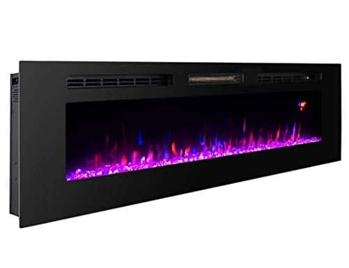 Proman Products 60 Inches Electric Fireplace Wall Recessed Heater Crystal Stone Flame Effect 3 Changeable Colors Fireplace with Remote 1500 W Black 0 5
