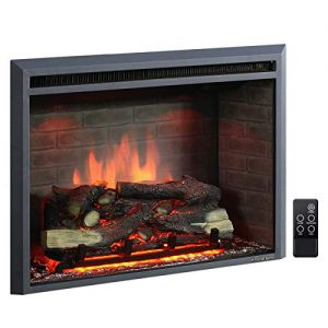 PuraFlame 30 Inches Western Electric Fireplace Insert with Fire Crackling Sound Remote Control 7501500W Black 0