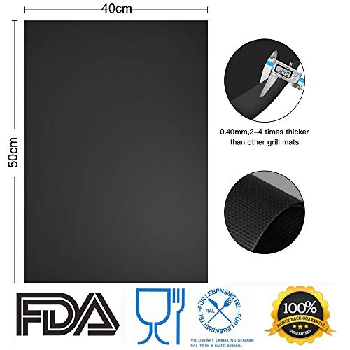 RENOOK Grill Mat Heavy Duty 600 Degree Non Stick BBQ Mats Easy to Clean Reusable Gas Charcoal Electric Griling Accessories Best for Outdoor Barbecue Baking and Oven Liner Set of 2 20 x16 Inch 0 1