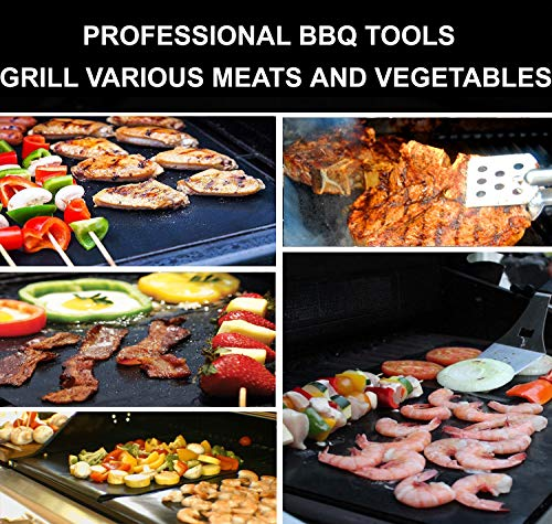 RENOOK Grill Mat Heavy Duty 600 Degree Non Stick BBQ Mats Easy to Clean Reusable Gas Charcoal Electric Griling Accessories Best for Outdoor Barbecue Baking and Oven Liner Set of 2 20 x16 Inch 0 3