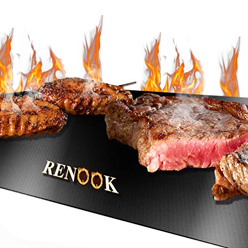 RENOOK Grill Mat Heavy Duty 600 Degree Non Stick BBQ Mats Easy to Clean Reusable Gas Charcoal Electric Griling Accessories Best for Outdoor Barbecue Baking and Oven Liner Set of 2 20 x16 Inch 0