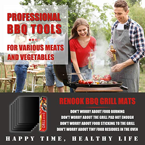 RENOOK Grill Mat Set of 6 100 Non Stick BBQ Grill Mats Heavy Duty Reusable and Easy to Clean Works on Electric Grill Gas Charcoal BBQ 1575 x 13 Inch Black 0 0