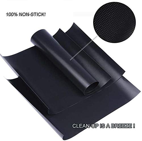 RENOOK Grill Mat Set of 6 100 Non Stick BBQ Grill Mats Heavy Duty Reusable and Easy to Clean Works on Electric Grill Gas Charcoal BBQ 1575 x 13 Inch Black 0 1