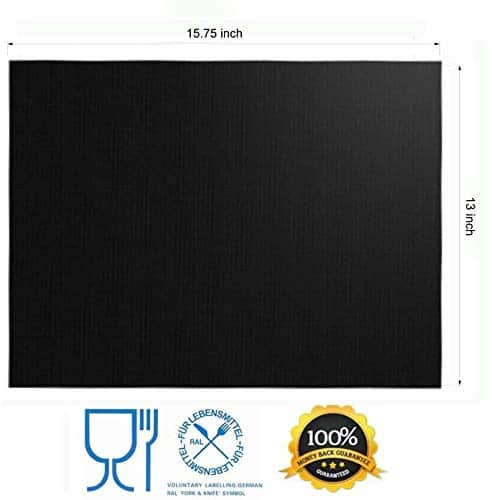 RENOOK Grill Mat Set of 6 100 Non Stick BBQ Grill Mats Heavy Duty Reusable and Easy to Clean Works on Electric Grill Gas Charcoal BBQ 1575 x 13 Inch Black 0 2