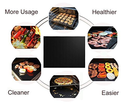 RENOOK Grill Mat Set of 6 100 Non Stick BBQ Grill Mats Heavy Duty Reusable and Easy to Clean Works on Electric Grill Gas Charcoal BBQ 1575 x 13 Inch Black 0 3