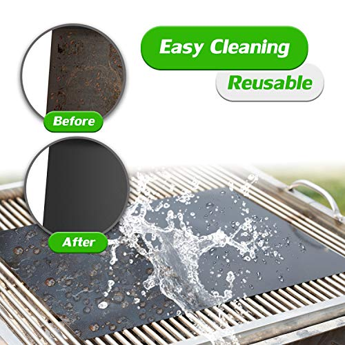 RENOOK Grill Mat Set of 6 100 Non Stick BBQ Grill Mats Heavy Duty Reusable and Easy to Clean Works on Electric Grill Gas Charcoal BBQ 1575 x 13 Inch Black 0 4