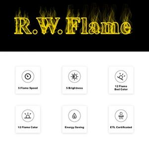 RWFLAME 36 inch Recessed and Wall Mounted Electric Fireplace Ultra Thin ad Low Noise Fit for 2 x 4 and 2 x 6 Stud Remote Control with TimerTouch ScreenAdjustable Flame Color and Speed 0 0