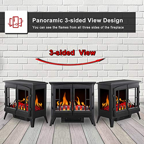 RWFLAME Infrared Electric Fireplace Stove 23 Freestanding 2 Door Fireplace Heater Realistic Flame Effects Adjustable Brightness and Heating Mode Overheating Safe Design 1000W1500W Black 0 0