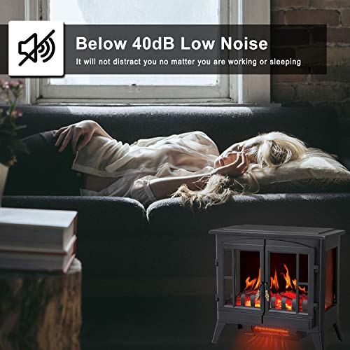 RWFLAME Infrared Electric Fireplace Stove 23 Freestanding 2 Door Fireplace Heater Realistic Flame Effects Adjustable Brightness and Heating Mode Overheating Safe Design 1000W1500W Black 0 1