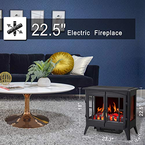 RWFLAME Infrared Electric Fireplace Stove 23 Freestanding 2 Door Fireplace Heater Realistic Flame Effects Adjustable Brightness and Heating Mode Overheating Safe Design 1000W1500W Black 0 2