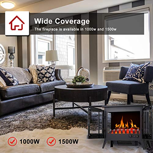 RWFLAME Infrared Electric Fireplace Stove 23 Freestanding 2 Door Fireplace Heater Realistic Flame Effects Adjustable Brightness and Heating Mode Overheating Safe Design 1000W1500W Black 0 3