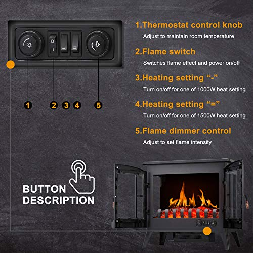 RWFLAME Infrared Electric Fireplace Stove 23 Freestanding 2 Door Fireplace Heater Realistic Flame Effects Adjustable Brightness and Heating Mode Overheating Safe Design 1000W1500W Black 0 4