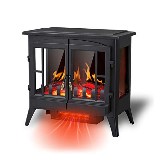 RWFLAME Infrared Electric Fireplace Stove 23 Freestanding 2 Door Fireplace Heater Realistic Flame Effects Adjustable Brightness and Heating Mode Overheating Safe Design 1000W1500W Black 0