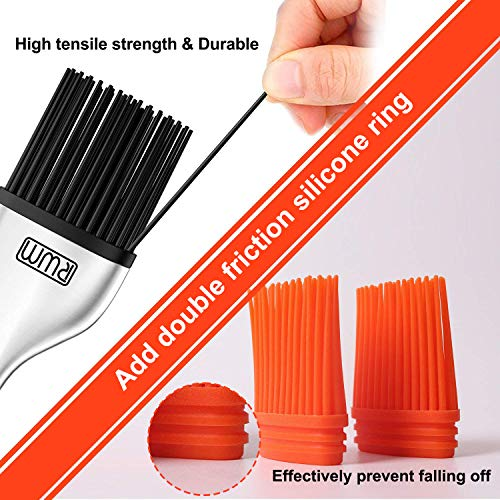 RWM Basting Brush Grilling BBQ Baking Pastry and Oil Stainless Steel Brushes with Back up Silicone Brush HeadsOrange For Kitchen Cooking Marinating Dishwasher Safe 0 1