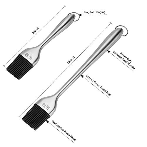 RWM Basting Brush Grilling BBQ Baking Pastry and Oil Stainless Steel Brushes with Back up Silicone Brush HeadsOrange For Kitchen Cooking Marinating Dishwasher Safe 0 3