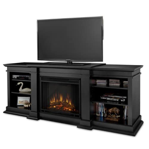 Real Flame Fresno G1200 X B Entertainment Unit in Black with Electric Fireplace 0